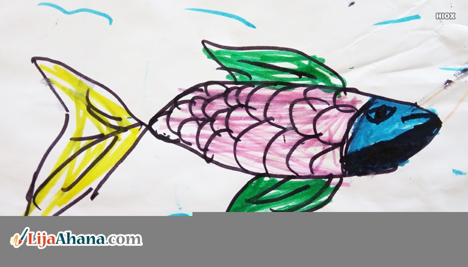 Beautiful Fish Kid Drawing With Colour