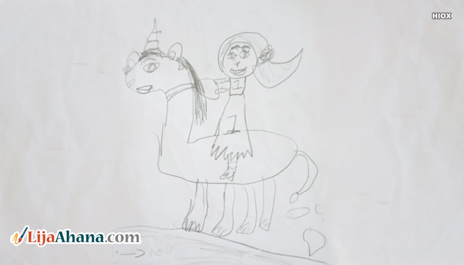 Girl Riding Unicorn Kid Drawing