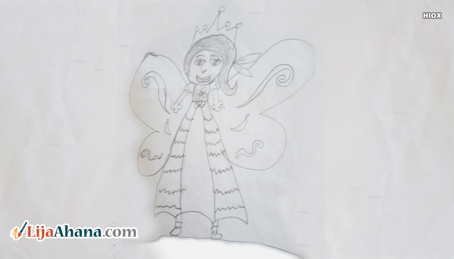Girl With Angel Wings Drawing