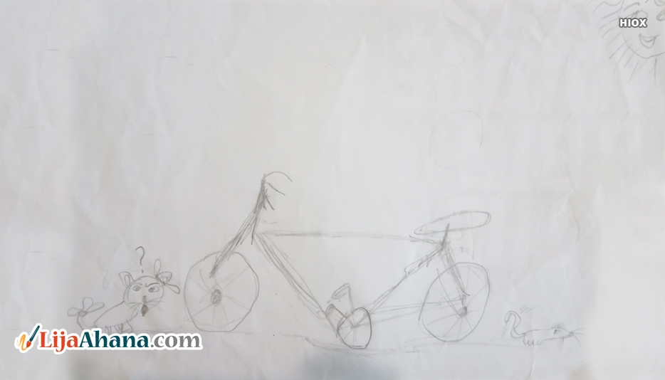 Kid Cycle Pencil Drawing