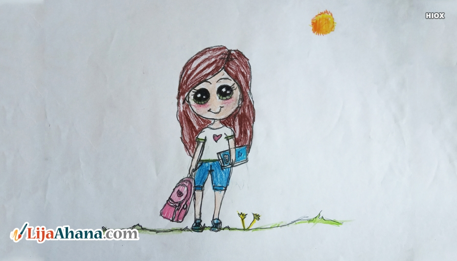Modern Cute Girl Drawing
