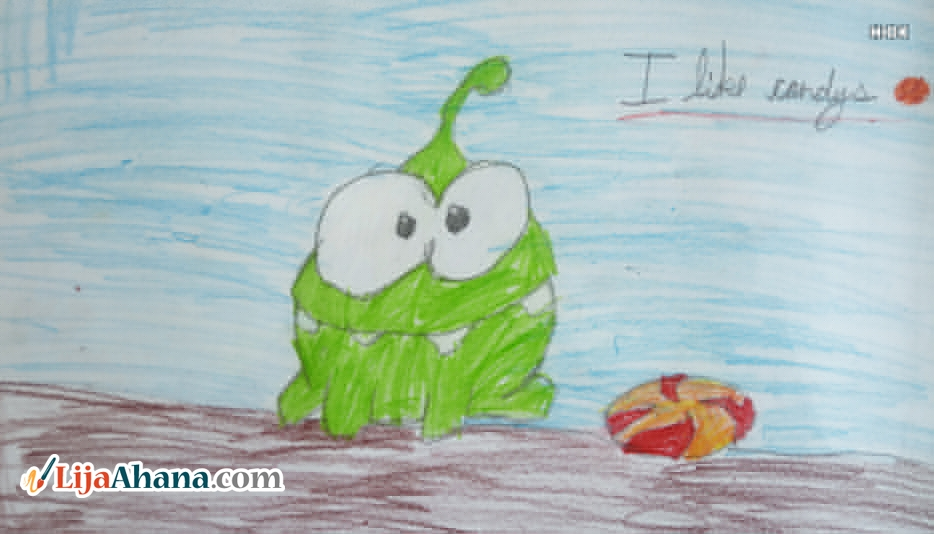 Om Nom With Candy Drawing