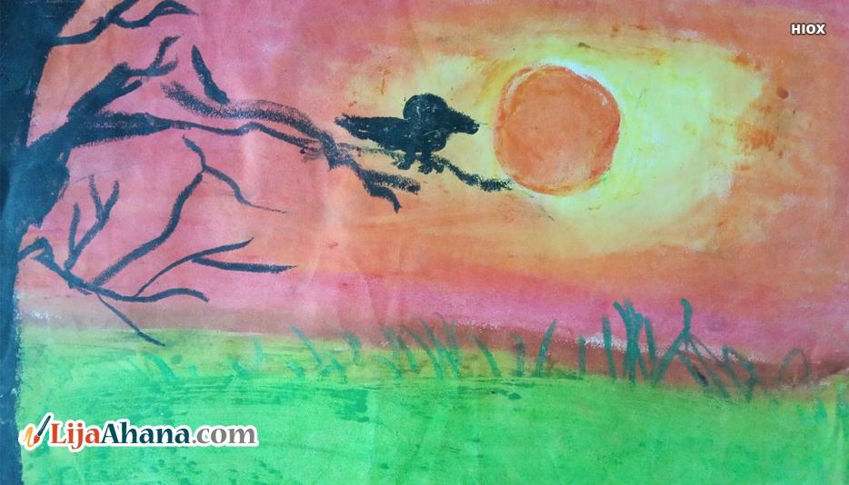 Sunset Kid Drawing
