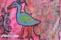 Peacock Kid Crayon Drawing