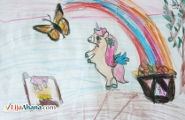 Unicorn Butterfly Kid Drawing With Color